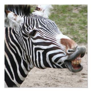 "Smiling Zebra Invitations 5.25"" Square Invitation Card"