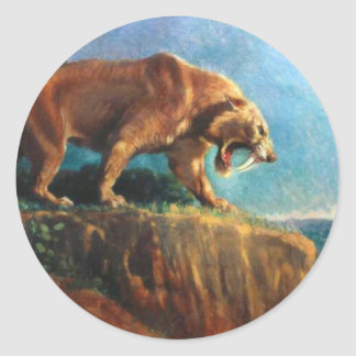 smilodon round sticker