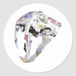 Smilodon Skull (flower pattern) Round Sticker