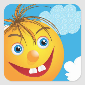 Smily face and clouds sticker