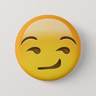 Smirking Face Emoji 6 Cm Round Badge