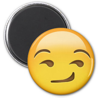 Smirking Face Emoji 6 Cm Round Magnet