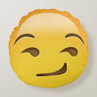 Smirking Face Emoji Round Cushion