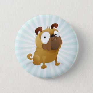 Smirking Pug - Light Blue Background 6 Cm Round Badge
