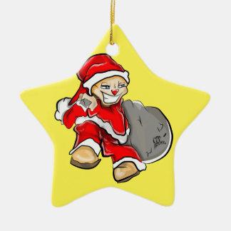 Smirky Smile Santa on the Run Holding Toy Sack Christmas Ornament