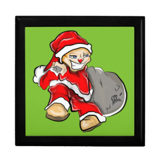 Smirky Smile Santa on the Run Holding Toy Sack Gift Box