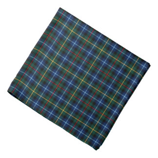 Smith Clan Tartan Royal Blue and Green Plaid Bandana