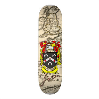 Smith Coat Of Arms Britannia Old Map Background Skate Decks