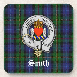 Smith Family Tartan Plaid and Clan Crest Badge Drink Coaster