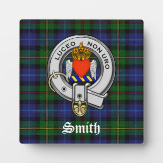 Smith Family Tartan Plaid and Clan Crest Badge Plaque