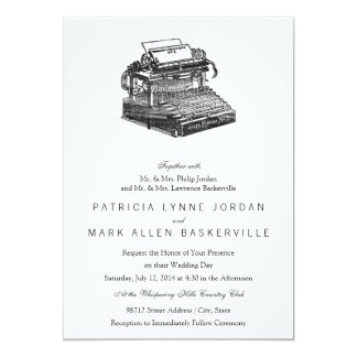 Smith Premier No. 2 Typewriter 13 Cm X 18 Cm Invitation Card