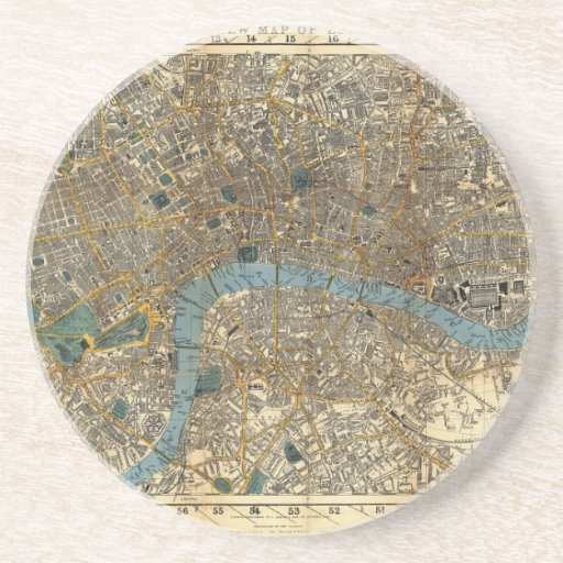 Smith's new map of London 1860 Coasters