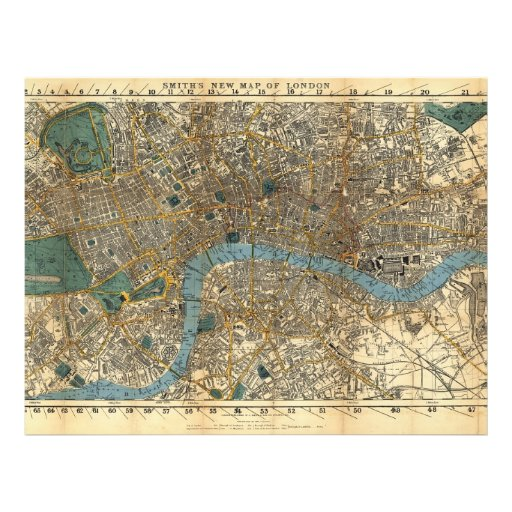 Smith's new map of London 1860 Flyer