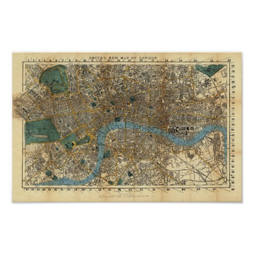 Smith's new map of London 1860 Posters