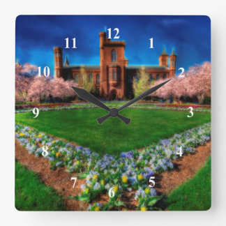 Smithsonian Castle Garden Cherry Blossoms Square Wall Clock