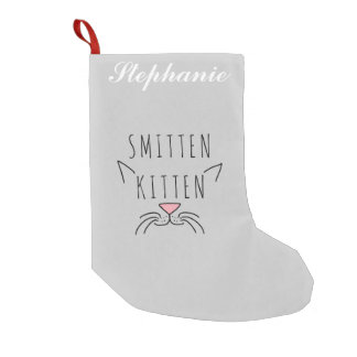 """Smitten Kitten"" Typography Cat Ears & Whiskers Small Christmas Stocking"