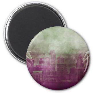 smoke city 6 cm round magnet