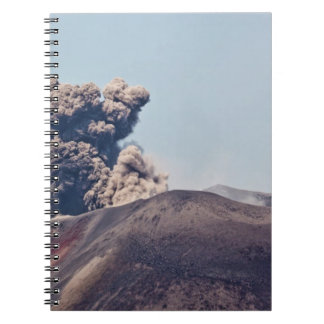 Smoke escaping from active volcano Anak Krakatau Spiral Notebook