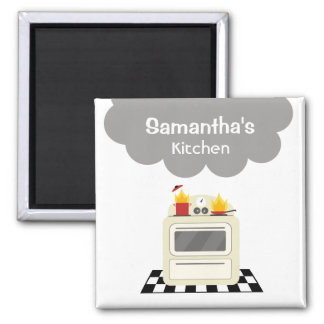 Smoke & Fire Retro Stove Kitchen Magnet