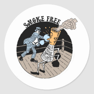 Smoke Free. Kicking butt! Classic Round Sticker