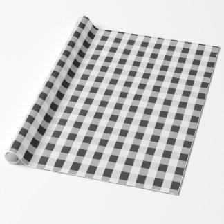 Smoke Gray Gingham Pattern Wrapping Paper