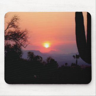 Smoke induced sunset mouse mat
