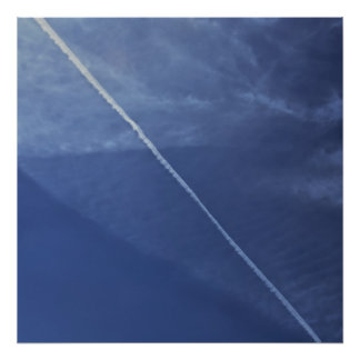 smoke trail on cloudy sky poster