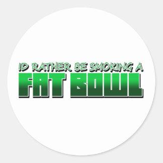 SmokeaFatBowl Round Sticker