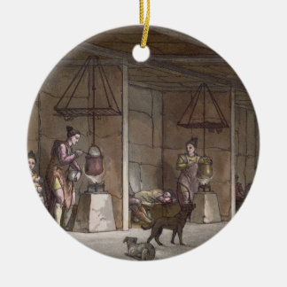 Smokehouse in Greenland (colour engraving) Christmas Ornament