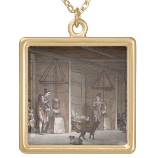 Smokehouse in Greenland (colour engraving) Gold Plated Necklace
