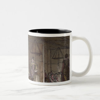 Smokehouse in Greenland (colour engraving) Two-Tone Coffee Mug
