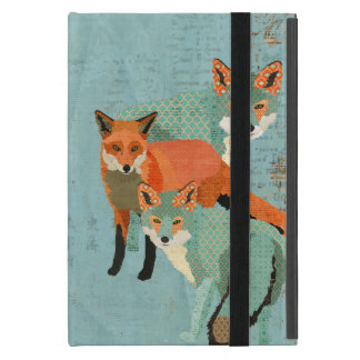 Smokey Amber Foxes Blue Case Cover For iPad Mini