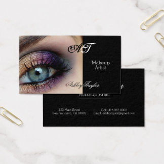 Smokey Blue Eyes Makeup Artist Business Cards
