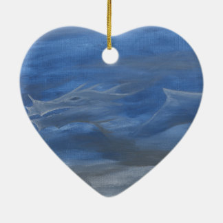 Smokey Dragon Ceramic Heart Decoration