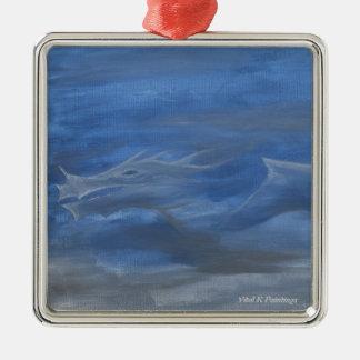 Smokey Dragon Silver-Colored Square Decoration