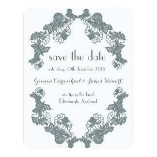 Smokey Grey Lace Trim Save The Date 11 Cm X 14 Cm Invitation Card