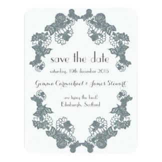 Smokey Grey Lace Trim Save The Date 11 Cm X 14 Cm Invitation Card