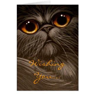 SMOKEY PERSIAN CAT PAINTING HOLIDAY Card