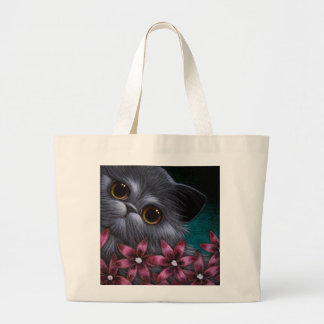 SMOKEY PERSIAN CAT with PINK FLOWERS Bag