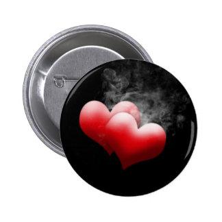 Smokey Red Hearts Button