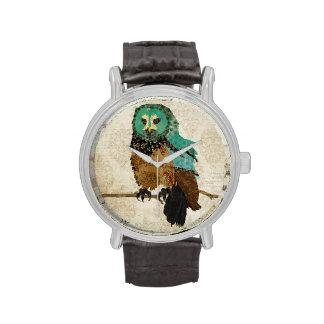 Smokey Rose Owl Damask Watch