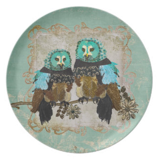 Smokey Rose Owls Plate