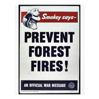 Smokey Says -Prevent Forest Fires! 21.5 Cm X 28 Cm Flyer