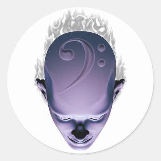 Smokin' Bass Head Round Sticker