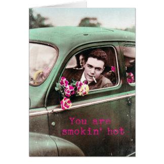 Smokin' Hot Retro Vintage Digital Art, Valentine Greeting Card