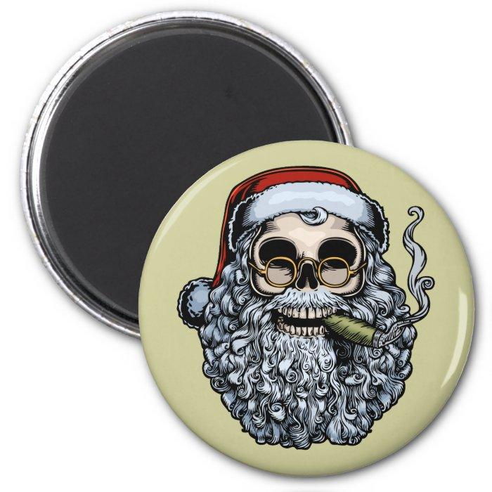 Smokin' Santa Skull 6 Cm Round Magnet