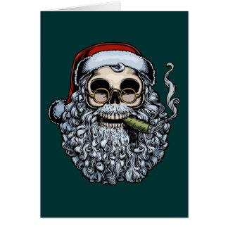 Smokin' Santa Skull Card