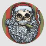 Smokin' Santa Skull Round Sticker