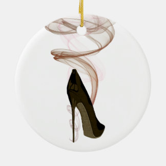 Smokin Stiletto Shoe Art Round Ceramic Decoration