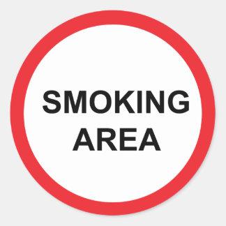 smoking area round sticker